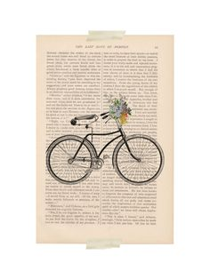 dictionary art - Bicycle with Basket of Flowers no. 2 bike print - vintage art book page print. $9.00, via Etsy.