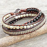 Onyx and jasper wrap bracelet, 'Hill Tribe Discovery'