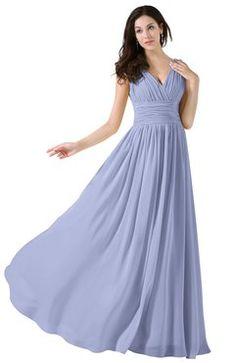 1e5bafe622a ColsBM Alana Lavender Elegant V-neck Sleeveless Zip up Floor Length Ruching Bridesmaid  Dresses Dusty