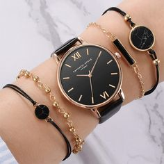 Set Top Style Fashion Women's Luxury Leather Band Analog Quartz WristWatch Ladies Watch Women Dress Reloj Mujer Black Clock-in Women's Watches from Watches on AliExpress Rolex Datejust, Stylish Watches, Watches For Men, Women's Watches, Ladies Watches, Fine Watches, Wrist Watches, Moda Hipster, Moda Outfits