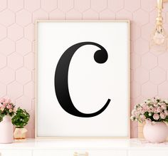 "Letter ""C"" Printable Art Poster, Alphabet C Wall Art, C Initial Wall Art, Monochrome Nursery, Letter Printable Wall Art *INSTANT DOWNLOAD* Initial Wall Art, Letter Wall Art, Monochrome Nursery, Printing Websites, Printable Christmas Cards, Woodland Nursery Decor, Baby Deer, Animal Nursery, Printable Wall Art"