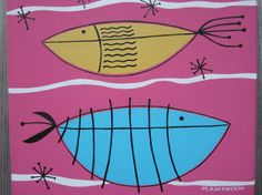 acrylic painting, mid century modern atomic fish with painted sides of a gallery wrapped canvas in a hot pink ocean.