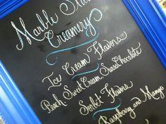 Chalk board design for wedding reception Marble Slab station.