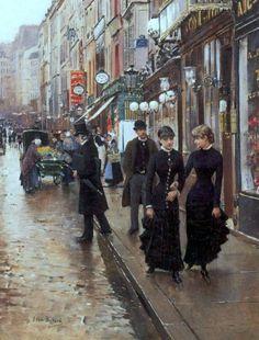 Paris - The Walk by Jean Béraud French) Victorian Paintings, Victorian Art, Paintings I Love, Beautiful Paintings, Promenade Paris, Monet, Jean Beraud, Paris Kunst, Art Parisien