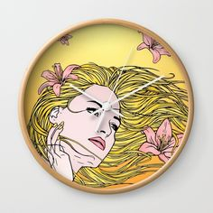 Lilies Wall Clock by Salome | Society6