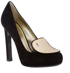 ysl black clutch with chain - Yves Saint Laurent Tribtoo high heel textured slingback pumps ...