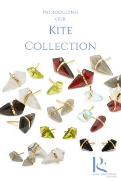 Kite Collection Studs in Garnet, Onyx, Blue Topaz, Labradorite, Clear Quartz, wrapped in 18k gold.    Earrings by Page Sargisson