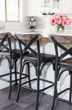 Bar Chairs For Kitchen Island.Turquoise Bar Stools: Brighten Your Kitchen Bar HomesFeed. Updated Kitchen Homebyheidi Com Trendy Farmhouse Kitchen . 25 Small Kitchen Designs With Spacious Dining Area And . Home Design Ideas Elegant Kitchen Island, Island Chairs, Elegant Kitchens, Stools For Kitchen Island, Farmhouse Bar Stools, Bar Stools Kitchen Island, Stool, Trendy Farmhouse Kitchen