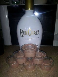 Rum Chata Pudding Shots ~ oh My....here's the recipe:   1 4 oz pkg instant chocolate jello pudding  1 cup milk  1 cup Rum Chata  1 8 oz container cool whip   Mix milk, pudding and Rum Chata till thickened, gently mix in cool whip with spatula, pour (kinda thick but not set yet) into plastic jello shot cups.  Put them in a cake pan in the freezer for a few hours then enjoy! Will not freeze hard due to alcohol in them! Delish!