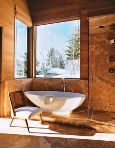 Snow covered mountains outside your bath?  Awesome.