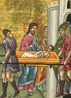 Raising of the Son of the Widow of Nain Artist: Bazzi Rahib, Ilyas Basim Khuri Life Of Christ, Major Events, Jesus, Dead Man, Raising, Artist, Psalm 42, Midget Man, Jesus Christ