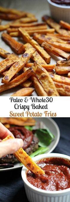 Crispy Baked Sweet Potato fries with a healthy homemade BBQ sauce dip that's refined sugar free, Paleo, Vegan, soy free, and gluten free. Whole 30 Diet, Paleo Whole 30, Whole 30 Recipes, Whole Food Recipes, Healthy Recipes, Paleo Recipes For Kids, Paleo Kids, Rib Recipes, Healthy Baking