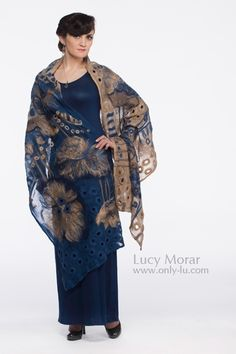 """Evening Whisper"" Nuno Felt Art Scarf by Lucy Morar   www.only-lu.com"