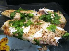 Cilantro Lime Tilapia: just made this. It was pretty simple and good. Added just a touch of cumin for smokey-ness.