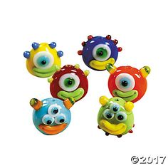 Alien Lampwork Glass Beads - 14mm x 14mm