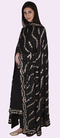 Black Gota Patti And Kasab Hand Embroidered Suit #PunjabiLadiesSuits