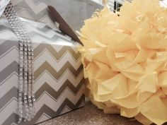 Grey chevron, bling and tissue balls just a few of my favorite things