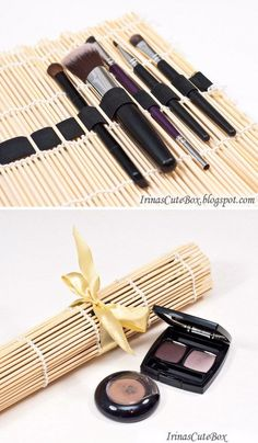 45 Creative Makeup Storage Ideas And Hacks For Girls. diychristmascrafts   DIY Beyond Easy Sushi Mat to Compact Brush ... e4589e85d4