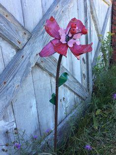 Iris Metal Garden Art Flower  Berry Pink/Sweet by PatsGardenArt, $34.50