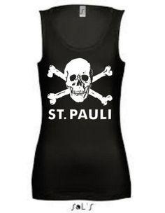 St.Pauli Ultras Skull Ladies Tank Top - Punk, Football, Rebel, Small - XL | eBay