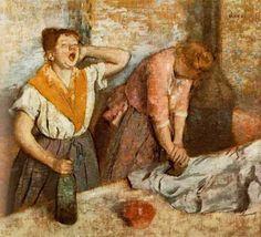 """에드가 드가, """"다림질하는 여인들"""", 1884-1886, 캔버스에 유채, 오르세 미술관.   에드가 드가는 세탁소 여공들, 매춘부 등 현실 속 평범한 사람들의 그림을 많이 그렸다. 이 그림 역시 삶의 단편을 나타낸 그림이다. 한 여인은 목을 잡고 하품을 하고 있고, 그 옆의 여인은 온 힘을 다해 다림질을 하고 있다. 그녀들은 여신도 아니고, 하다못해 미녀도 아니다. 하품하는 여인의 턱을 보면 살이 접혀있을 정도다. 하지만 이것이 실제의 삶이다. 모든 여자들이 아름다운 팔다리와 우아한 자태를 지닌 건 아니다. 물론 이 그림 속 여인들이 노력한다면 그런 미녀가 될 수 있을지도 모른다. 하지만 세탁소에서 하루종일 일해야하는 여성들이 외모 치장에 투자할 자원이 있을까? 그림 속 여인들은 누군가의 어머니이자 누군가의 딸들일 것이다. 비록 때론 피곤하지만 열심히 살아간다. 누군가의 어머니이자 누군가의 딸로서 말이다. 그녀들은 정말 추한가?"""