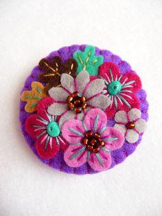 FB076 - japonés arte inspirado a mano Mini sentía broche - púrpura - hecho por encargo