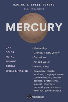 How to use the planetary energies of the Planet Mercury in your spells and magick. Choosing the right day to cast a spell does not need to be a long and involved process. Astrology Planets, Learn Astrology, Astrology Signs, Jupiter Astrology, Zodiac Signs, Magick Spells, Wicca Witchcraft, Wiccan Witch, Numerology Numbers