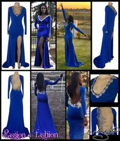 Royal blue and silver matric dance dress. Fitted till the hip and then flowy. With a train, a slit, long sleeves, V neckline and an illusion open back. Detailed with silver lace & breads. One sleeve detailed with silver lace & breads. Long Tight Prom Dresses, Prom Dresses 2016, Elegant Prom Dresses, Matric Farewell Dresses, Matric Dance Dresses, Color Azul, Indian Designer Wear, All About Fashion, Dress Making