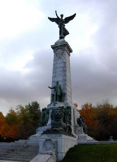 The Monument of Sir Georges -Etienne Cartier on Mount Royal Statue Of Liberty, Canada, Monuments, City, Cartier, Statues, Attraction, Liberty Statue, Effigy