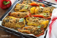 Peperoni gratinati con capperi e parmigiano - ricettedelcuore Lactose Free, Meatloaf, Food And Drink, Healthy Recipes, Cooking, Pane, Vegan, Vegetables, Kitchen
