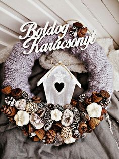 Karácsonyi kopogtató❄ Winter Christmas, Christmas Wreaths, Christmas Decorations, Xmas, Wreaths For Front Door, Door Wreaths, Burlap Wreath, Advent, Diy And Crafts