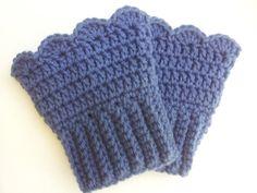 Crochet Boot Cuffs  Denim Blue  Ready To Ship by PoochieBaby