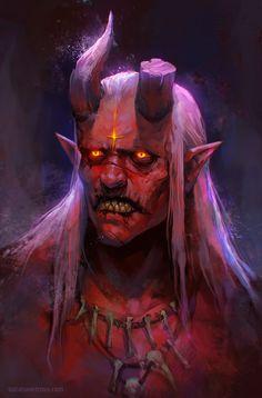 DeviantArt: More Like Demon portrait by KypcaHT Portraits Illustrés, Character Portraits, Character Art, Character Design, Dark Fantasy Art, Fantasy Artwork, Demon Artwork, Fantasy Creatures, Mythical Creatures