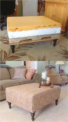 Make an beautiful DIY ottoman from a pallet and a mattress topper easily! Plus creative variations on upholstery fabric, furniture legs, and design styles. - A Piece of Rainbow furniture legs Beautiful DIY Ottoman { From a Pallet and a Mattress Topper! Refurbished Furniture, Repurposed Furniture, Pallet Furniture, Furniture Makeover, Furniture Design, Outdoor Furniture, Funky Furniture, Furniture Stores, Diy Furniture Table