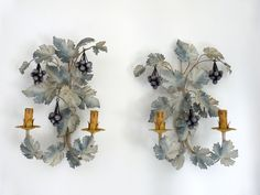 Pair antique French tole wall sconce lamps wallsconces w blue wine grapes toleware lighting wall fixtures w fruit, French home decor light French House, Home Decor Lights, French Tole, Decor Lighting, Blue Home Decor, Sconces, Country Cottage Kitchen Decor, French Home Decor, Wall Fixtures