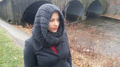 Winter scarf Chunky hooded cowl in charcoal by reneeoriginals1