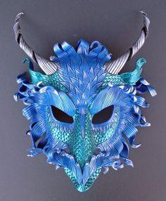 CUSTOM Frost Dragon Mask... handmade leather mask