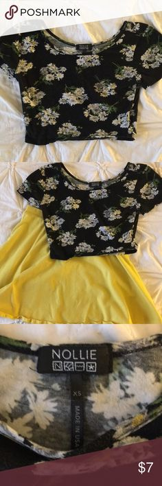 Daisy Printed Crop Top Nollie brand Crop Top from Pac Sun. This top is worn and the black has minor fading.  Super laid back piece. Make me an offer! Nollie Tops Crop Tops