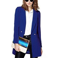 Womens-Slim-Fit-Double-Breasted-Blazer-Shrink-Waist-Lapel-Jacket-Suit-Coat