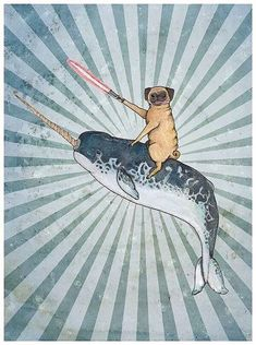 "LIMITED TIME ONLY ""Pug with a Lightsaber Riding a Narwal into Battle"" print of� #pugdrawing"