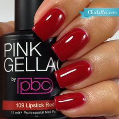 nails.quenalbertini: Pink Gellac 'Lipstick Red' | Chickettes