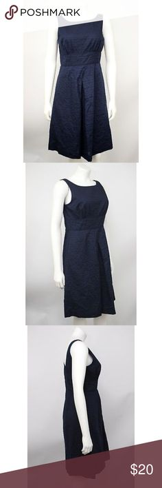 "J. Crew Navy Blue Woven Cotton Fit & Flare Dress J. Crew Navy Blue Woven Cotton Fit & Flare Sleeveless Lined Dress. Has pockets.  Measurements (flat / un-stretched): Tagged Size: 4 Bust: 32"" Length (shoulder to hem): 35½"" J. Crew Factory Dresses"