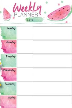 Sara Weekly planner agenda stampabile anguria Sara Weekly planner printable watermelon Get more photo about subject related with by looking at photos gallery… - To Do Planner, Agenda Planner, School Planner, Study Planner, Planner Pages, Planner Stickers, Planner Journal, Week Planner, Weekly Planner Template