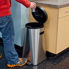 Kapoosh UV Sanitizing Waste Trash Can Bin - Black, Silver