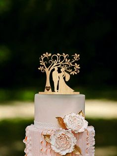 Tree Wedding Cake Topper Personalized Monogram Cake Topper