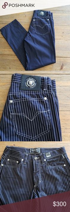 68bd1765 Shop Women's Versace Blue White size 27 Straight Leg at a discounted price  at Poshmark. Waist 28 Inseam Length 38 Rise Sold by huntergrays.
