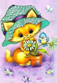 ☀️Sending lots of love to all my Sunshine and Daisy girls x o x o Thank you sweet Annie. Baby Animals, Cute Animals, Cartoon Clip, Daisy Girl, Cat Cards, Vintage Cartoon, Vintage Greeting Cards, Cat Drawing, Illustrations
