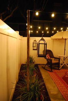 29 Backyard Lighting Ideas and Breathtaking Patio Will Fascinate You ⋆ sayangmom. Patio Diy, Backyard Patio Designs, Small Backyard Landscaping, Backyard Projects, Backyard Ideas, Terrace Ideas, Sloped Backyard, Cozy Backyard, Backyard Lighting