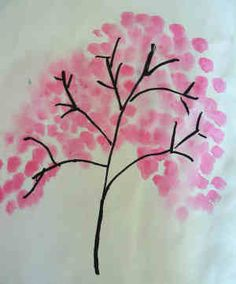 Blossom Tree Painting, draw branches and use pink fingerprints, or stamp with bottom of soda bottle