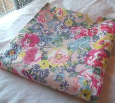 "Vintage Pink Floral Denim Fabric by Peter Pan 2 yds x 50"". $12.00, via Etsy."